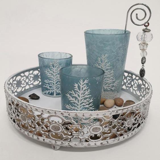 Teelichthalter Frozen H: 12 cm blau Kerzenhalter Kerzen Laternen Wohnaccessoires