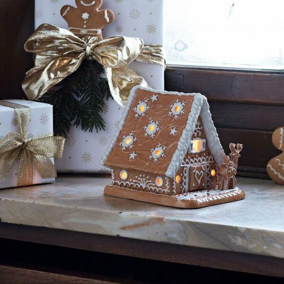 Teelichthalter Winter Bakery Lebkuchenhaus aus Porzellan