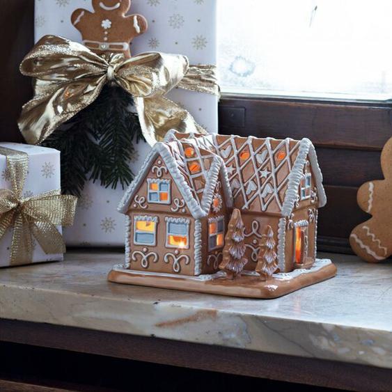 Teelichthalter Winter Bakery Lebkuchenvilla aus Porzellan