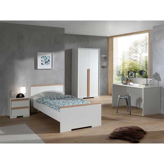 Teeniezimmer Einrichtung in Weiß und Buche modern (4-teilig)