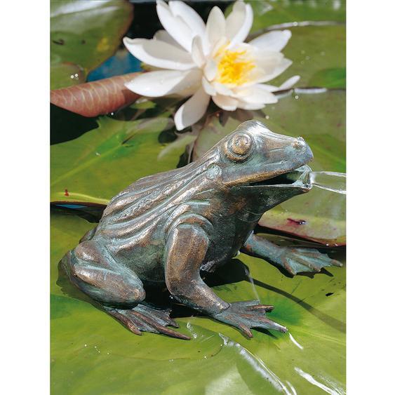 Teichfigur Wasserspeier Frosch Bronze HxBxT 11 x 16 x 13 cm