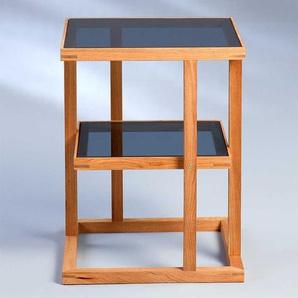 Telefontisch aus Walnuss Massivholz Dunkelgrau Glas