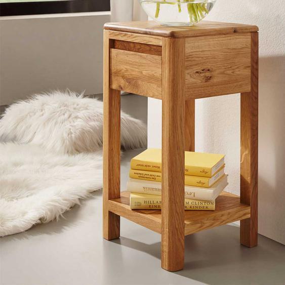 Telefontisch aus Wildeiche Massivholz Schublade