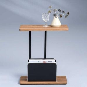 Telefontisch in Eichefarben und Schwarz 50 cm breit