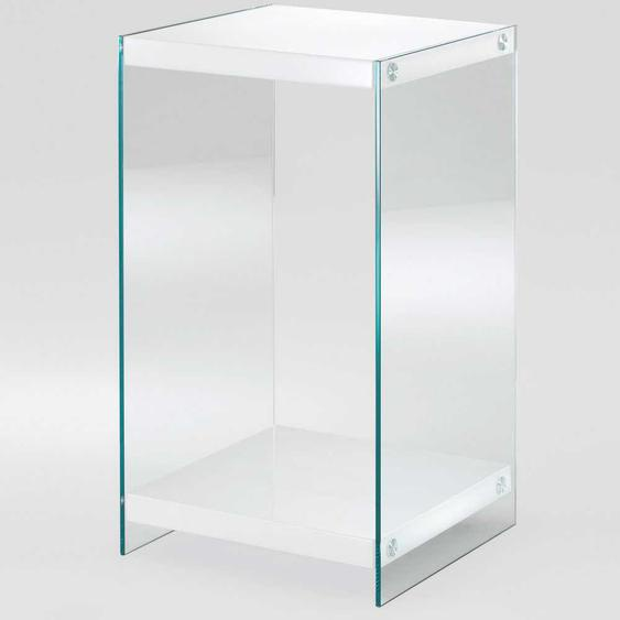 Telefontisch in Wei� Glas Wangen-Gestell