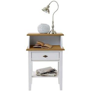Telefontisch in Weiß Kiefer Massivholz