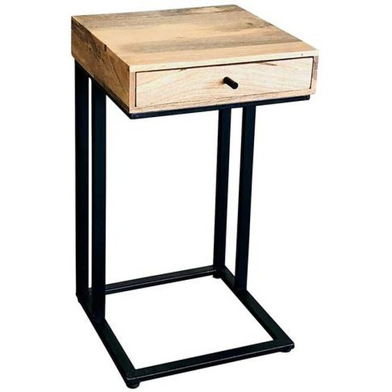 Telefontischchen aus Mangobaum Massivholz und Metall Schublade