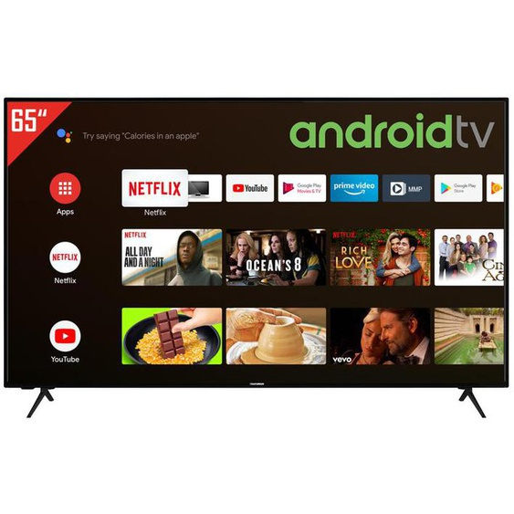 TELEFUNKEN XU65AJ600 65 Zoll Fernseher (Android Smart TV, Google Play Store & Google Assistant, 4K UHD mit Dolby Vision HDR / HDR 10, Bluetooth, Triple-Tuner)