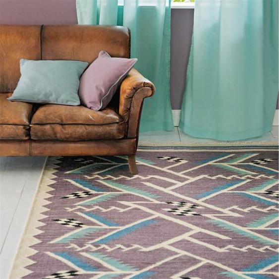Teppich Art déco - Bunt - 80 % Wolle/20 % Baumwolle - Teppiche