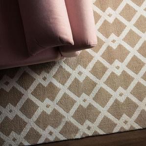 Teppich beige 140 x 200 cm Kurzflor SERRES