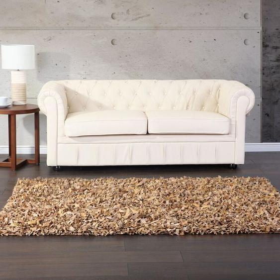 Teppich beige 80 x 150 cm Leder Shaggy MUT