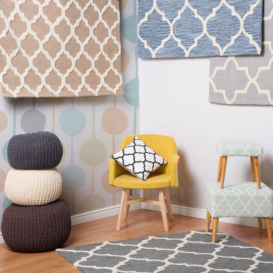 Teppich beige 80 x 150 cm marokkanisches Muster Kurzflor ERBAA