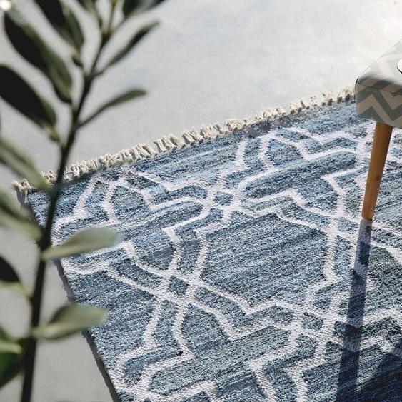 Teppich blau 140 x 200 cm marokkanisches Muster Kurzflor ADIYAMAN