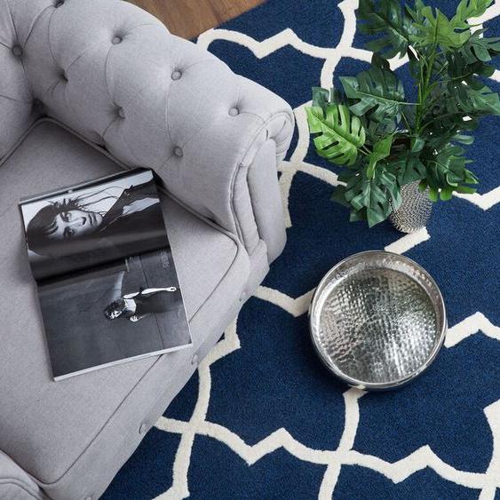 Teppich blau 80 x 150 cm marokkanisches Muster Kurzflor SILVAN