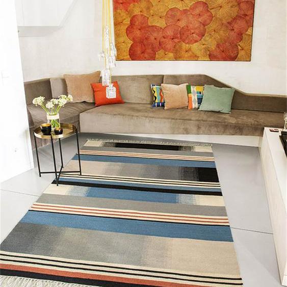 Teppich blauer Streifen - bunt - 80 % Wolle, 20 % Baumwolle - Teppiche