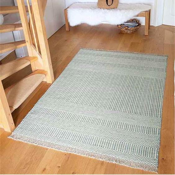 Teppich blue-ivory - bunt - 80 % Wolle, 20 % Baumwolle - Teppiche