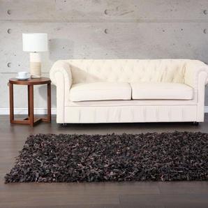 Teppich braun 160 x 230 cm Leder Shaggy MUT