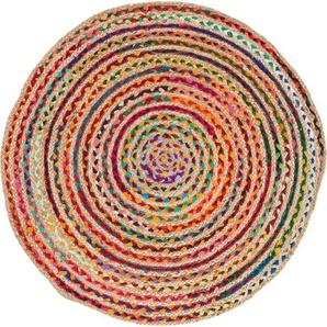 Teppich »Ethno«, Barbara Becker, rund, Höhe 4 mm, Flachgewebe, handgeflochten, Ø ca. 80 cm, Material: Jute & recycelte Baumwolle, Wohnzimmer