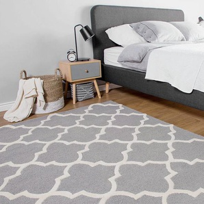 Teppich grau 160 x 230 cm marokkanisches Muster Kurzflor SILVAN