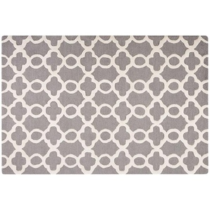 Teppich grau 160 x 230 cm marokkanisches Muster Kurzflor ZILE