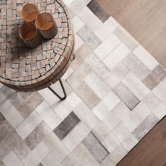Teppich grau-beige 160 x 230 cm Leder KORFEZ
