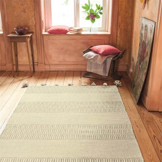 Teppich grau mit Troddeln - bunt - 80 % Wolle, 20 % Baumwolle - Teppiche
