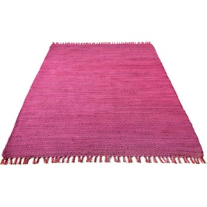 Teppich »Handweb Uni«, Home affaire, rechteckig, Höhe 5 mm, reine Baumwolle, Wendeteppich, mit Fransen, Wohnzimmer