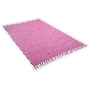 Teppich »Happy Cn«, THEKO, rechteckig, Höhe 5 mm, Flachgewebe, reine Baumwolle, handgewebt, mit Fransen, Wohnzimmer