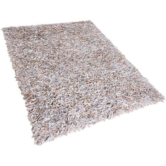 Teppich hellbeige 160 x 230 cm Leder Shaggy MUT