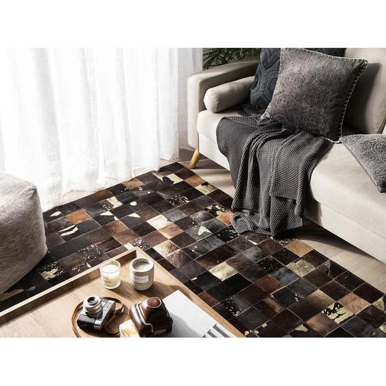 Teppich Kuhfell braun 140 x 200 cm Patchwork BANDIRMA