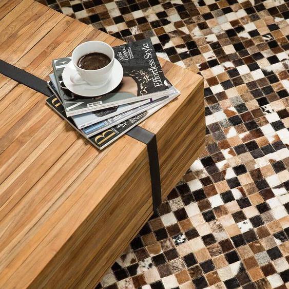 Teppich Kuhfell braun / beige 160 x 230 cm Patchwork KONYA
