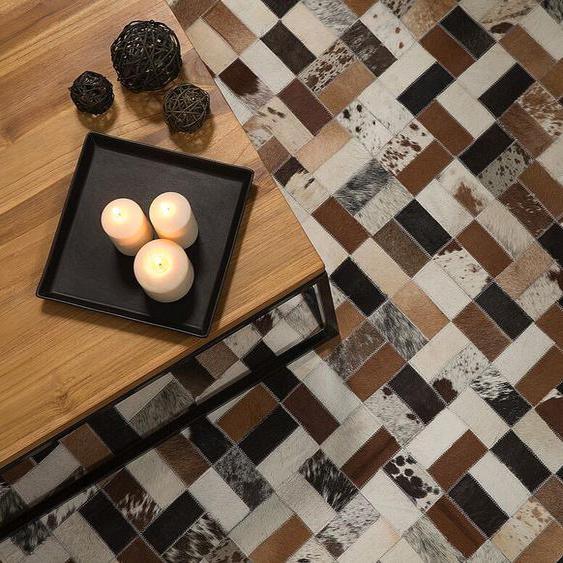 Teppich Kuhfell braun-beige 80 x 150 cm Patchwork CESME