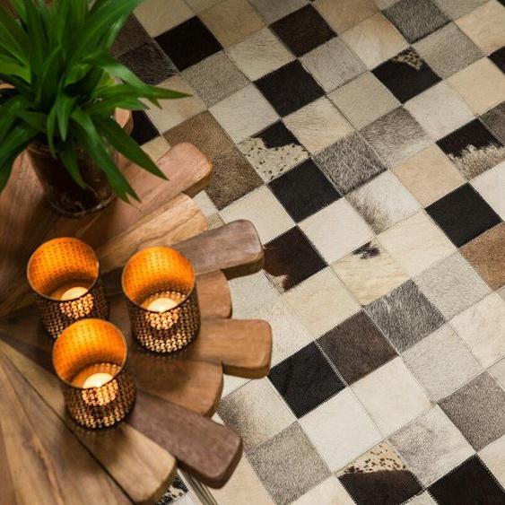 Teppich Kuhfell braun-beige 80 x 150 cm Patchwork RIZE
