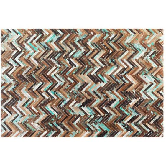 Teppich Kuhfell braun-beige-blau 140 x 200 cm Patchwork AMASYA