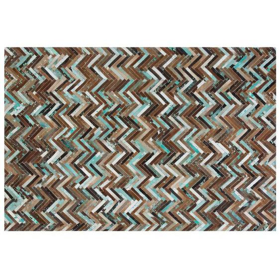 Teppich Kuhfell braun-beige-blau 160 x 230 cm Patchwork AMASYA