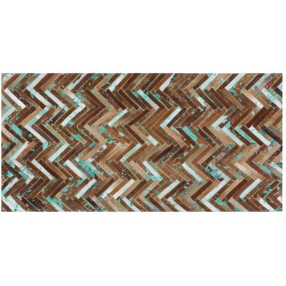 Teppich Kuhfell braun-beige-blau 80 x 150 cm Patchwork AMASYA