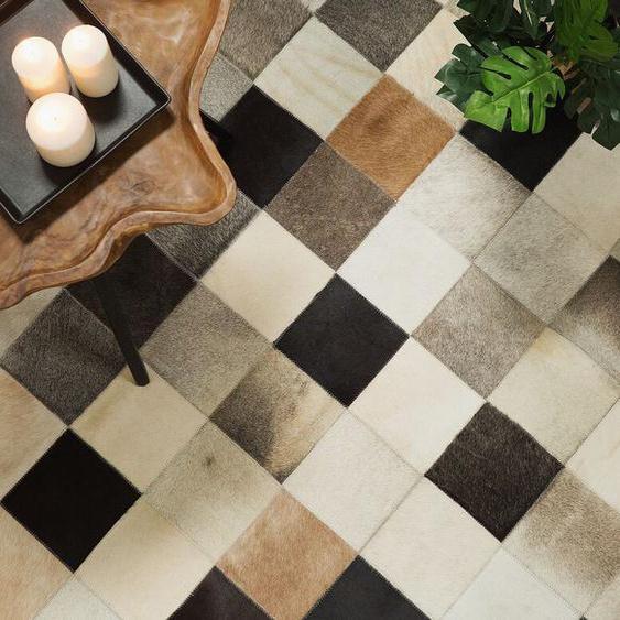 Teppich Kuhfell braun-beige-grau 160 x 230 cm Patchwork SOKE