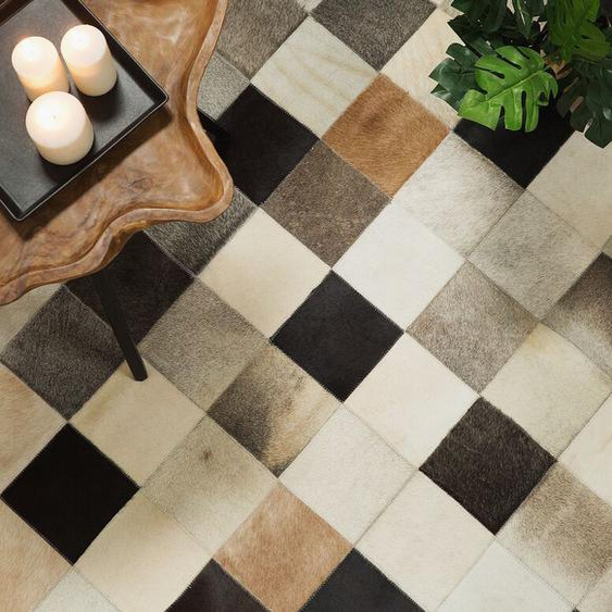 Teppich Kuhfell braun-beige-grau 80 x 150 cm Patchwork SOKE