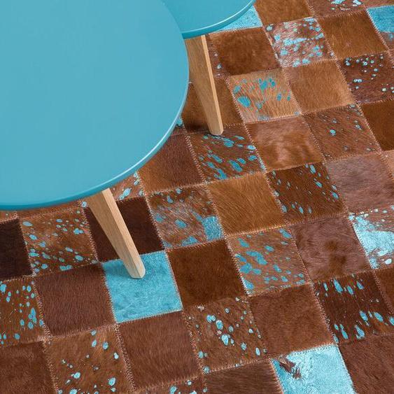 Teppich Kuhfell braun-blau 140 x 200 cm Patchwork ALIAGA