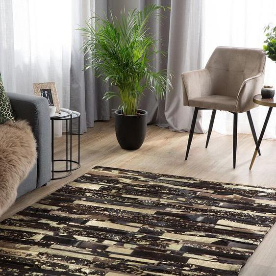 Teppich Kuhfell braun-gold 160 x 230 cm Patchwork ARTVIN