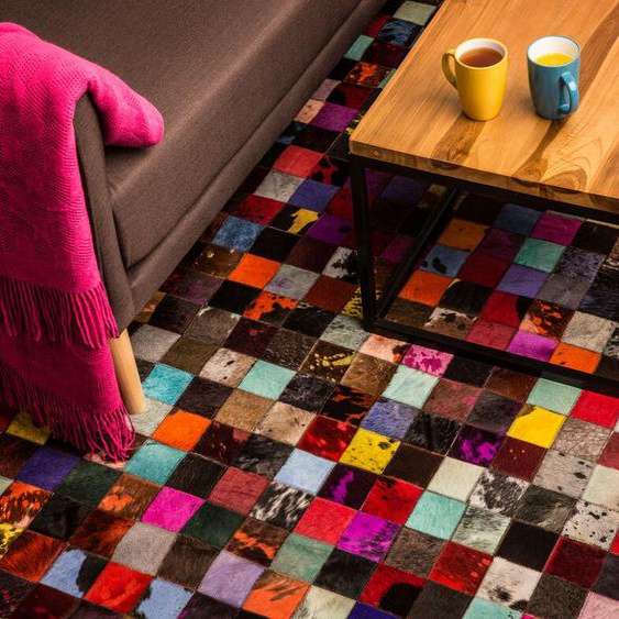 Teppich Kuhfell bunt 160 x 230 cm Patchwork ENNE