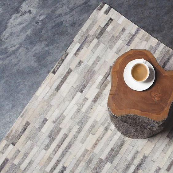 Teppich Kuhfell grau 140 x 200 cm Patchwork AHILLI