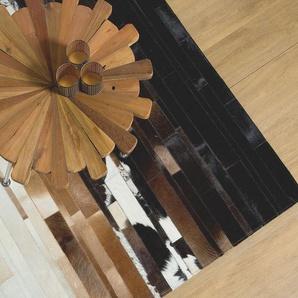 Teppich schwarz-beige 140 x 200 cm Leder DALYAN