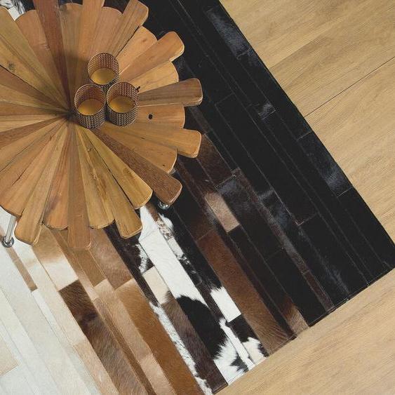 Teppich Kuhfell schwarz-beige 140 x 200 cm Patchwork DALYAN