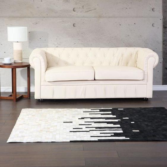 Teppich Kuhfell schwarz/beige 160 x 230 cm Patchwork BOLU