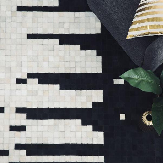 Teppich Kuhfell schwarz/beige 80 x 150 cm Patchwork BOLU