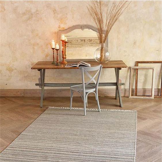 Teppich naturfarben gestreift - bunt - 80 % Wolle, 20 % Baumwolle - Teppiche