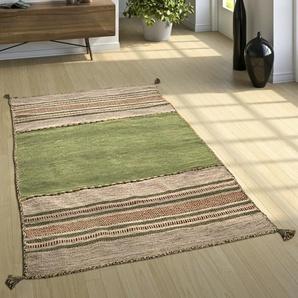 Kelim-Teppich Retford aus Baumwolle in Grün