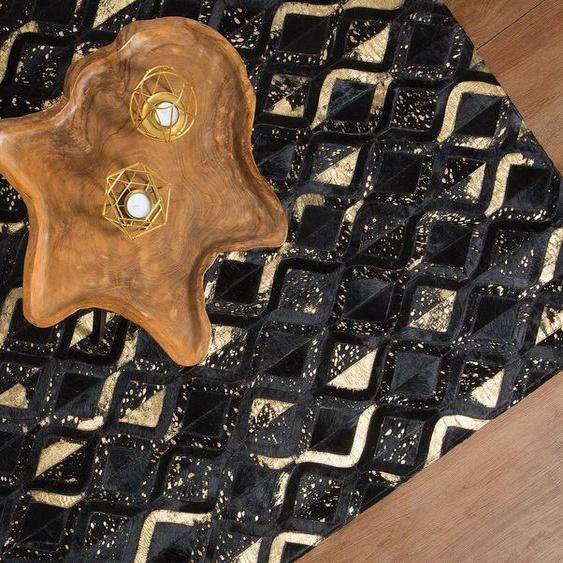 Teppich Kuhfell schwarz-gold 160 x 230 cm ZickZackmuster DEVELI