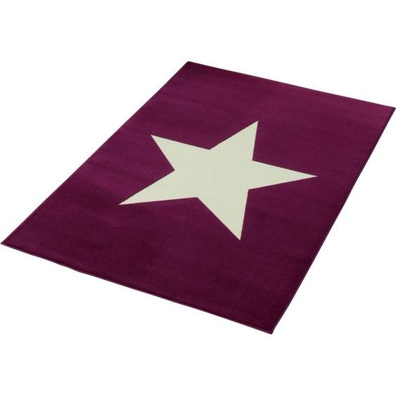 HANSE Home Teppich Stern, rechteckig, 9 mm Höhe, Kurzflor mit kräftige Farben 3, 140x200 cm, lila Kinder Bunte Kinderteppiche Teppiche